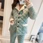 2018冬季新款睡衣女加厚三层夹棉水晶绒保暖中长款法兰绒居家棉袄