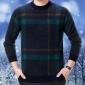 羊绒衫男圆领2018秋冬款格子爸爸装休闲男式全羊毛中老年加厚毛衣