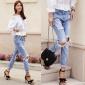 新款 大破洞牛仔长裤 街头时尚牛仔裤 修身显瘦女裤