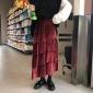 2018新款韩版学生高腰三层不对称金丝绒半身裙荷叶边裙子